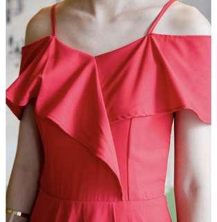 Fairbelle Adelle Flutted Dress (Red)
