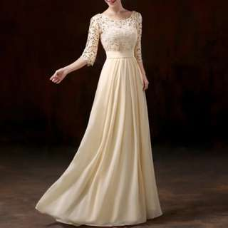 Champaign lace dress / evening gown