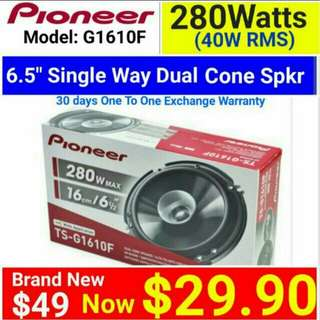 "Pioneer 6.5"" size 280 Watts  Single Way Coaxial Speaker Model G1610F.  Usual Price: $ 49.90. Special Price: $29.90"