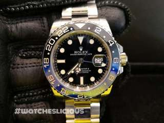 PREOWNED ROLEX GMT MASTER II, BATMAN, 116710BLNR, 904L Steel, 40mm, Alphanumeric Series @ Year 2014 Mens Watch