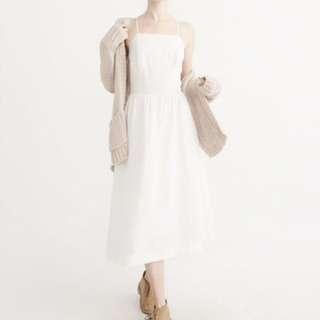 Abercrombie & Fitch square neck linen midi dress