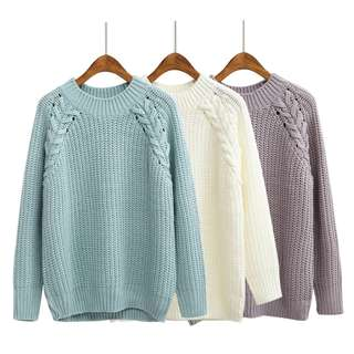 (PO) Lace Details Knitted Pullover