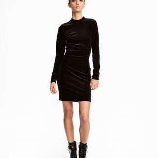 Black velvet dress with keyhole back