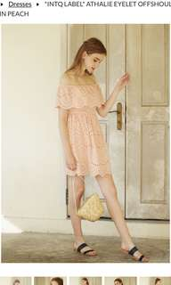 Intoxiquette ATHALIE EYELET OFFSHOULDER DRESS IN PEACH