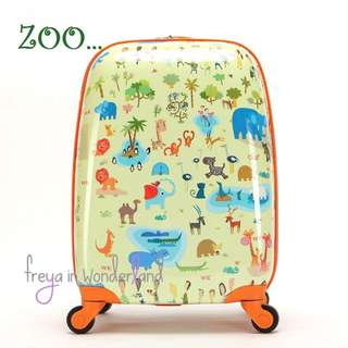 18 Inch Zoo Lion Elephant Deer Giraffe Zebra Monkey Penguin Seal Bear Hippo Kangaroo Camel Ostrich Flamingo Chamelon Crocodile  Kids Luggage Suitcase Cartoon Design Gift Idea