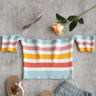 Brand new! Summer crop top in stripes (off shoulders)