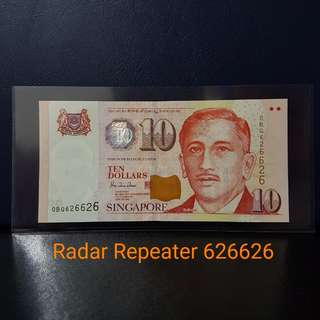 🇸🇬 *GEM UNC* Singapore Portrait Series $10 Paper Banknote~HTT Radar Repeater 626626