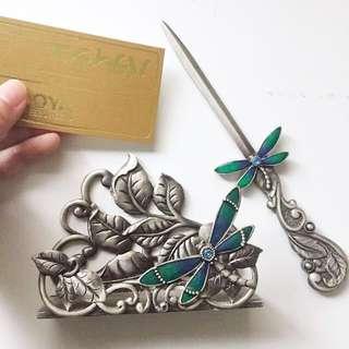 日本市集購入 金屬琉璃名片夾 拆信刀