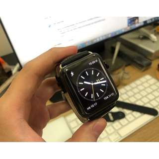 90% new Apple Watch 42mm Series 2 stainless steel Black