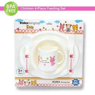4pc Kids Plate Set - Pink