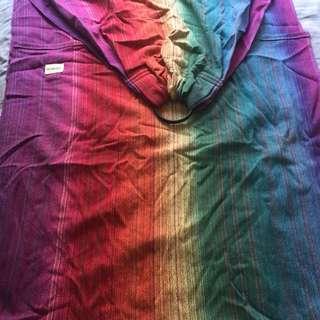 Handwoven emmie wraps rainbow promise ringsling black rings