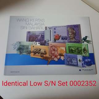 🇲🇾 Malaysia 50th Anniversary Commemorative RM1 To RM100 Identical S/N Set~Four Digit Low Number AA/AAA 0002352