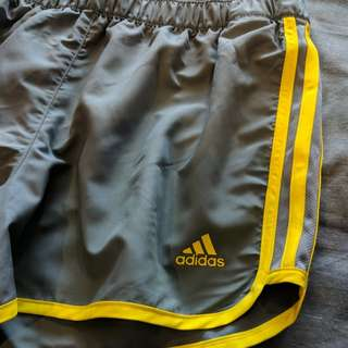 Adidas grey and yellow shorts!