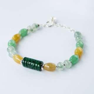 Green oriental carving jade bracelet