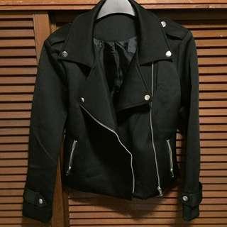 Black smooth texture biker jacket