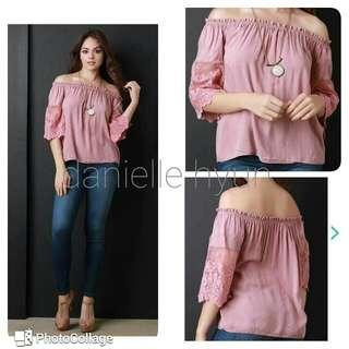 🐦Old rose pink blouse