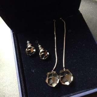 Swarovski earrings crystal 水晶耳環