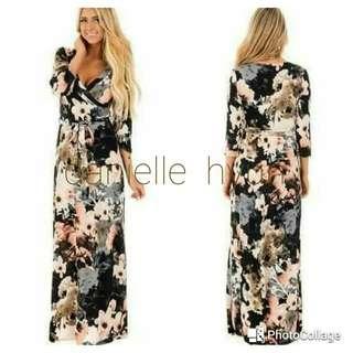 🐦3/4 long floral dress