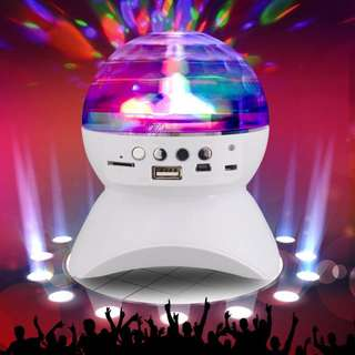 L-740 Bluetooth Wireless Speaker with LED Color Changing Stage Light Show Auto Rotating Crystal Disco Ball (black )