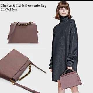 tas charles and keith cnk geometris bag geometric bukan zara