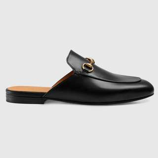 leather backless loafer