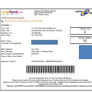 KTMB Train Ticket Woodland - JB Sentral 24 Feb 2018 10:50am