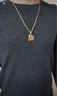 100 emoji pendant and gold plated chain