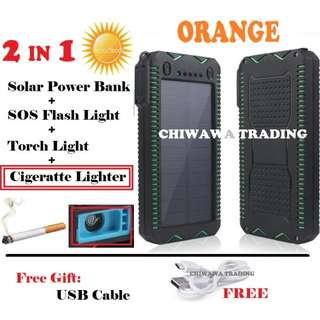 Solar Power Bank 30000mAh built in cigarette lighter w/proof