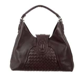 Bottega Veneta Intrecciato Trim Brown Leather Medium Bag