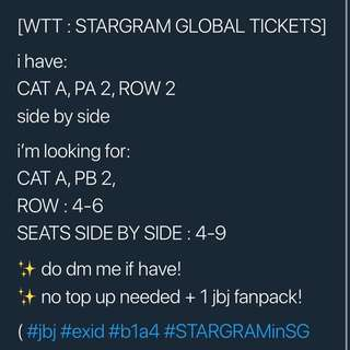 WTT CAT A  stargram tickets
