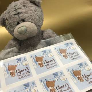 Customised baby shower full month stickers labels