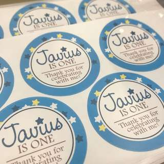 Customised birthday party sticker labels