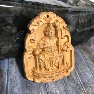 Kwan Gong /关公/关羽 prayer wood pendant