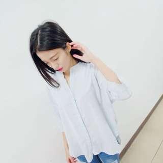 水藍色優雅襯衫