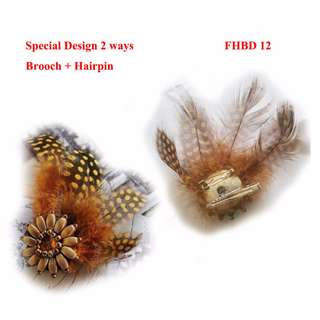 Feather hairband brooch