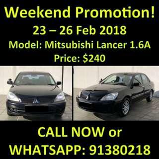 Mitsubishi Lancer 1.6 GLX $240 23 - 26 Feb Weekend Promotion