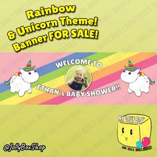 Rainbow and Unicorn Theme PVC Banner For Sale | For Boys and Girls | 20 x 60 Inch | Jolly Box 98573128