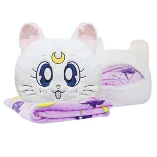 Sailor moon Artemis white cat  travel pillow with blanket