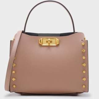新加坡直送 包郵 Charles & Keith STUD-DETAIL HANDBAG