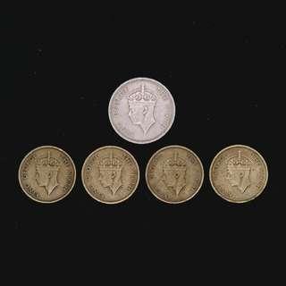 1948-1951 King George VI 香港錢幣共5個