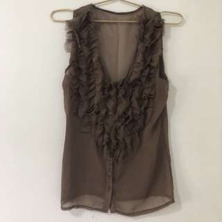 Brown Flare Sleeveless