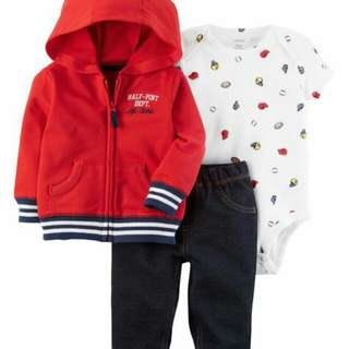 *24M Brand New Instock Carter's 3 Pc Little Jacket Set Boys Onesies Rompers Bodysuits Pants