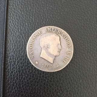 Napoleon Bonaparte 1809 Imperial France Italy Kingdom 5 Lire silver coin