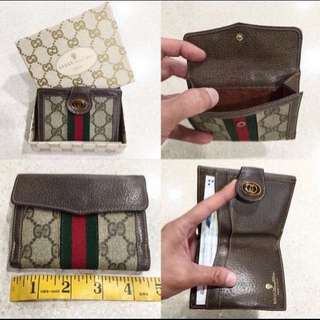 100% Authentic Vintage Gucci GG Monogram Green Red Green Stripe Leather Wallet Purse In Box