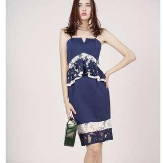Mds lace peplum dress in navy