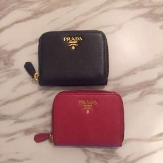 Red and black Prada coins bag