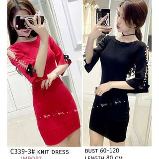 Midi Dress Bodycon Knit Rajut