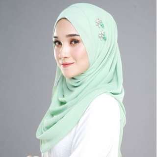 Instant Shawl SONIA Plain Dusty Green (LIMITED STOCK)