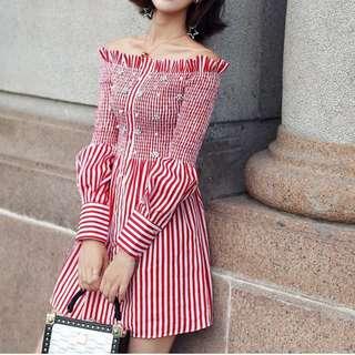 Ladies - Off Shoulder Long Sleeve Stripe Smocked Dress L1696