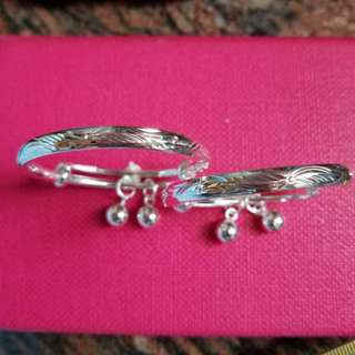 Sterling Silver 990 Baby Bangle (OneSet)  足銀990 嬰兒手䤥(對庒)